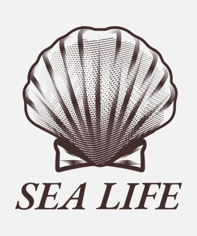 Sea Life T-Shirt Design Maker Featuring a Shell 1598f