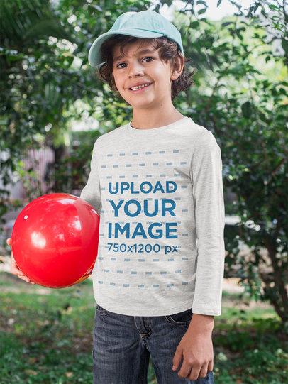 Heathered Long Sleeve Tee Mockup of a Kid Playing Outside 28118