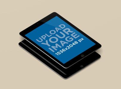 Minimal iPad Mockup in Portrait Position Featuring a Single Color Background 158-el