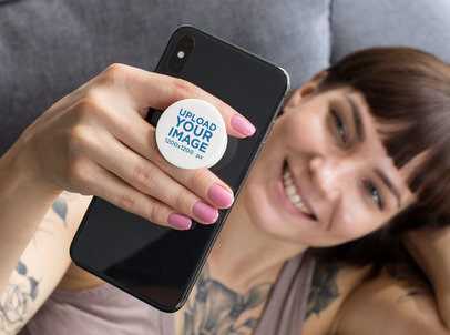 Phone Grip Mockup of a Woman Looking at Her Phone 28154
