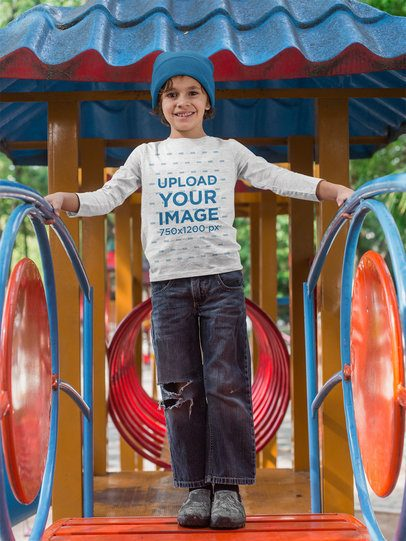 Long Sleeve Tee Mockup of a Happy Kid at a Playground 28121