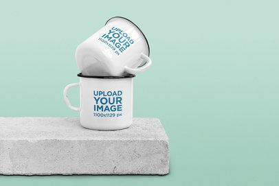 Mockup Featuring Two 12 oz Enamel Mugs on a Concrete Block 185-el