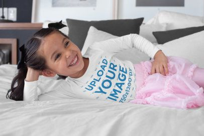 Long Sleeve T-Shirt Mockup of a Girl in Her Bedroom 28107