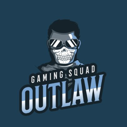 Logo Maker for a Gaming Squad Featuring an Outlaw Character 2340d