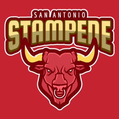 Sports Logo Maker With a Fierce Bull Clipart 484h-2333