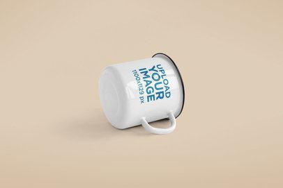 Minimal Mockup of a 12 oz Enamel Mug Lying on a Solid Color Surface 188-el