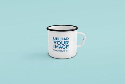 Minimal 12 oz Enamel Mug Mockup Featuring a Plain Background 187-el