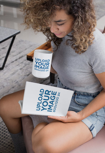 Mockup of a Woman Reading a Book and Holding a Coffee Mug 28467