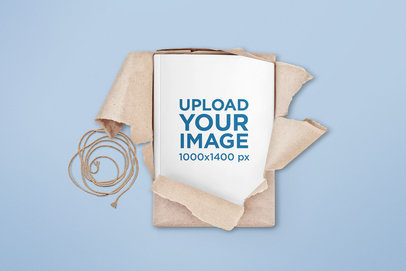 Minimal Book Mockup Featuring a Brown Paper Wrapping 303-el