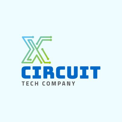 Tech Company Logo Template Featuring an Electric-Circuit Graphic 2173h 2342