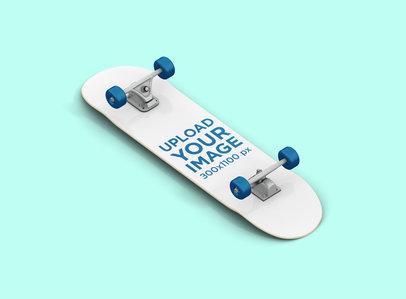 Render Mockup of a Skateboard Against a Solid Color Background 381-el