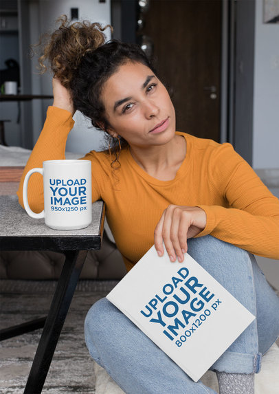 Mockup of a Serious Woman Holding a Book While Drinking from a Coffee Mug 28475