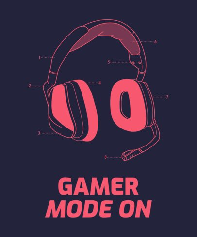 Gaming T-Shirt Maker Featuring a Headset Clipart 1634