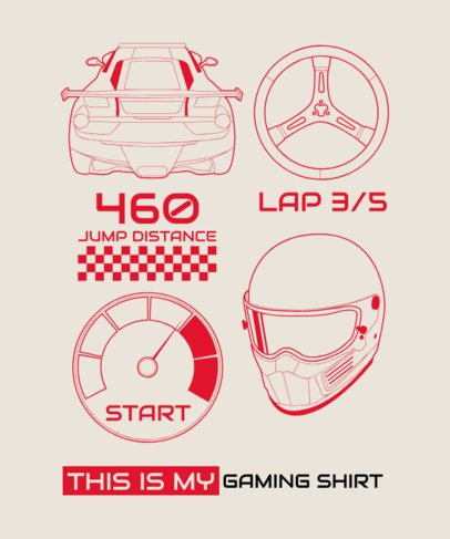 T-Shirt Design Template with Racing Illustrations 1630c