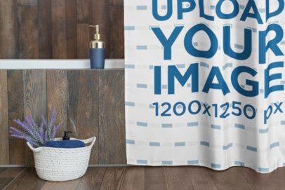 Shower Curtain Mockup Featuring a Bathroom Basket 28543