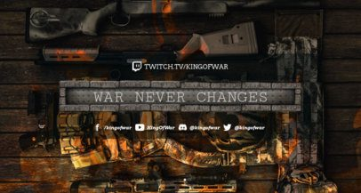 War-Themed Twitch Banner Maker Featuring Rifles over a Wooden Surface 1461j 1652