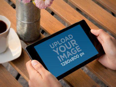 Nexus 7 Landscape Wooden Table Both Hands 2
