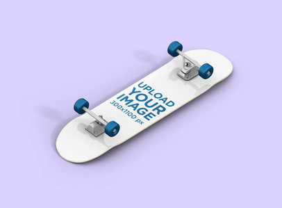 Render Mockup Featuring a Skateboard Lying on a Solid Color Surface 384-el