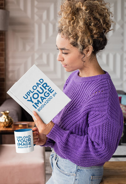 Mockup of a Woman Reading a Book and Drinking from a Mug in Her Living Room 28471