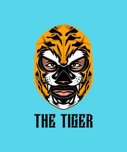 T-Shirt Design Maker with a Fighter in a Tiger-Texture Mask 1640f