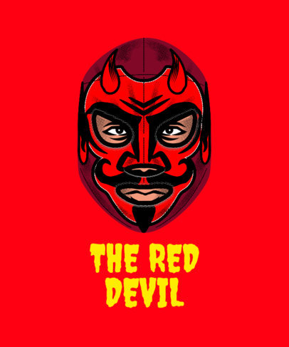 Wrestling T-Shirt Design Maker with a Red-Devil Mask 1640k