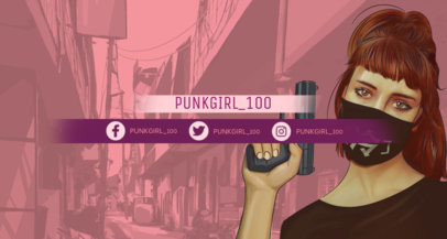 Twitch Banner Maker in the Style of GTA Featuring a Female Character 1458i--1649