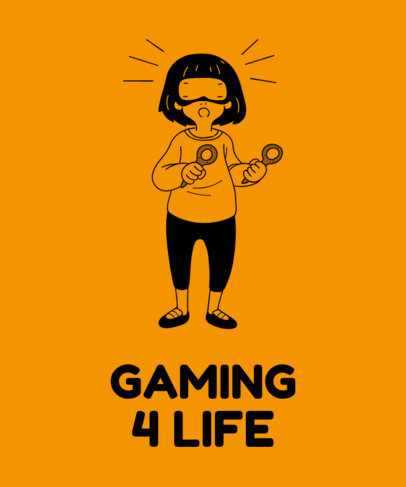 Gaming T-Shirt Maker Featuring a Woman Wearing a VR Headset Illustration 1634a