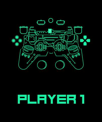 T-Shirt Design Maker Featuring a Deconstructed Gaming Controller 1634f
