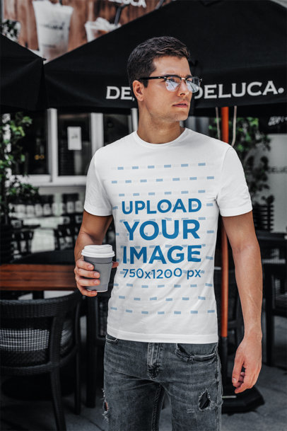 T-Shirt Mockup Featuring a Young Man with Glasses Drinking Coffee 422-el