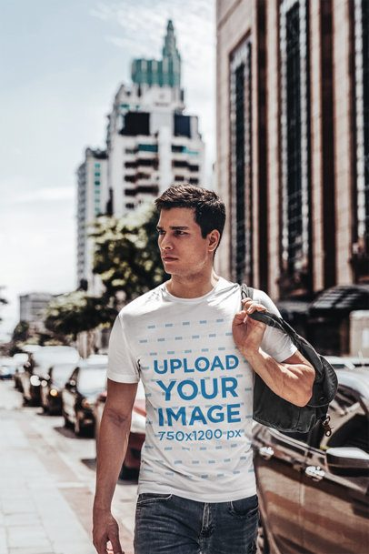 T-Shirt Mockup Featuring a Young Man with a Backpack on his Shoulder 424-el