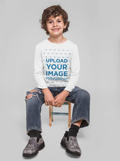 Long Sleeve Mockup of a Boy Sitting on a Stool 28117