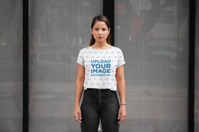 Mockup of a Young Woman Wearing a Sublimated Crop Top 28556
