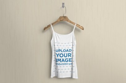 Mockup of a Tank Top Mockup Hanging Against a Solid Color Wall 362-el