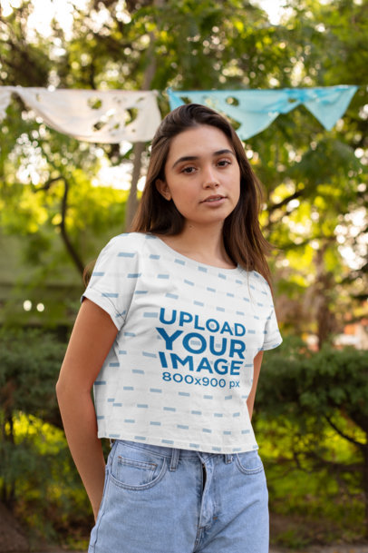 Mockup of a Woman Wearing a Cropped T-Shirt at the Park 28566