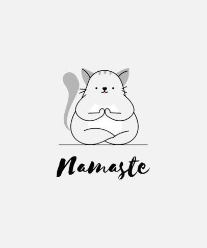 T-Shirt Design Creator Featuring a Cat Meditating 1665b