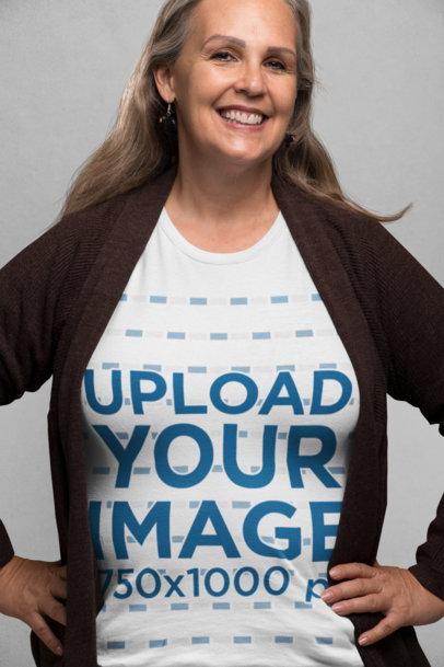 T-Shirt Mockup of an Elder Woman Smiling 28448