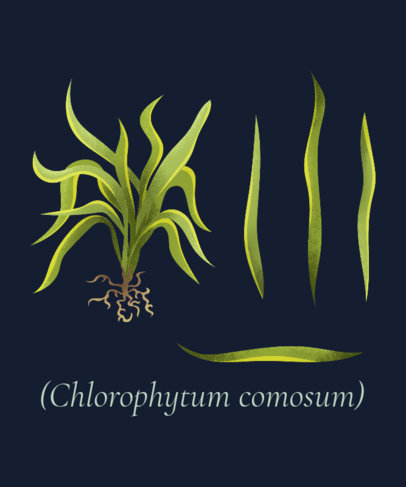 Botanical T-Shirt Design Template Featuring Plants Clipart 1662h