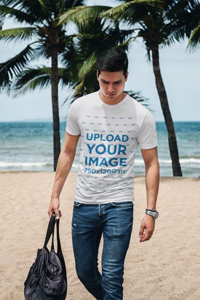 T-Shirt Mockup of a Man Carrying a Bag by the Beach 431-el
