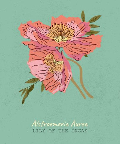 T-Shirt Design Maker with an Exotic Flower Illustration 1661b