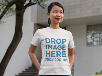 Asian Woman Standing Outside Her Home T-Shirt Mockupa9442