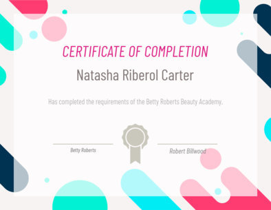 Completion Certificate Template featuring Colorful Bubbles 1670c
