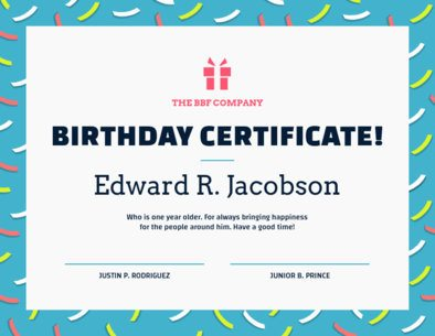 Birthday Certificate Template 1669g