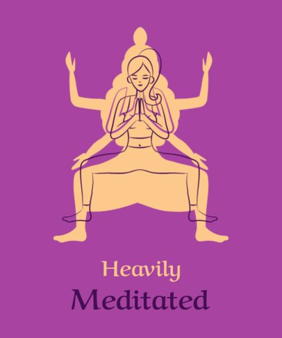 Illustrated T-Shirt Design Template Featuring a Woman Practicing Yoga 1663e