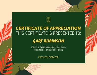 Appreciation Certificate Generator with Plants Illustrations 1671m