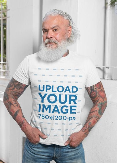 T-Shirt Mockup of a Senior Bearded Man with Arm Tattoos 28427