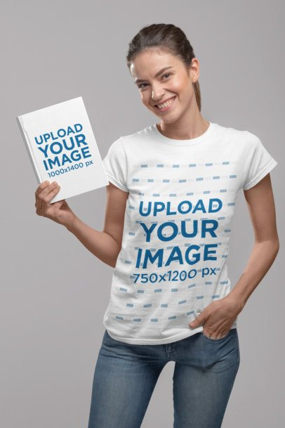 T-Shirt Mockup of a Woman Showing a Book Cover at a Studio 28495