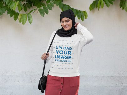 Crewneck Sweatshirt Mockup of a Smiling Woman Wearing a Hijab 28406