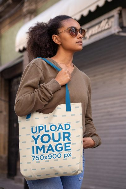 Mockup of a Woman with Sunglasses Carrying a Tote Bag on Her Shoulder 28845