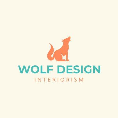 Interior Design Logo Maker with a Wolf Silhouette 1209i-2411