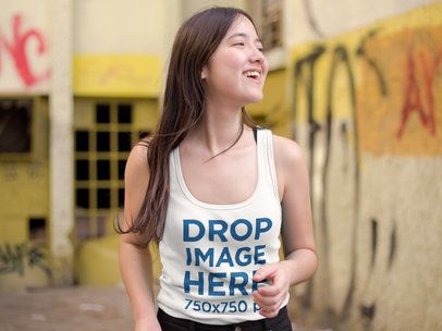 Tank Top Mockup of an Asian Woman in an Abandoned House a9542